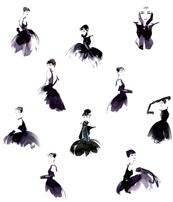 little black dress, fashion drawings